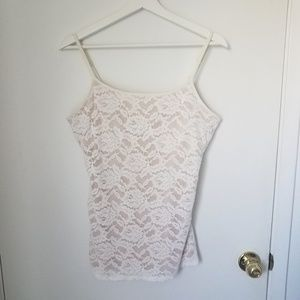 Express white lace cami built in bra L